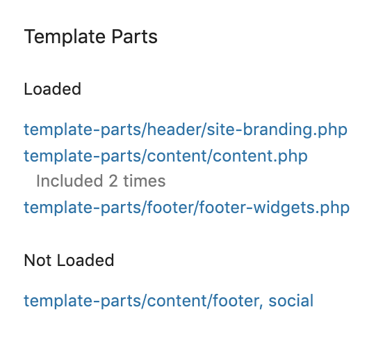 Screenshot of the Template Parts section of the Template panel in Query Monitor